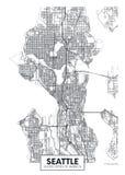 Mapa Seattle, diseño de la ciudad del cartel del vector del viaje ilustración del vector