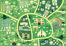 Mapa sem emenda dos desenhos animados de Milão no vetor Imagens de Stock
