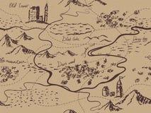 Mapa sem emenda envelhecido do vintage da fantasia com montanhas, construções, árvores, montes, rio ilustração royalty free