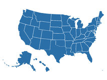 Mapa similar vazio dos EUA no fundo branco País do Estados Unidos da América Molde do vetor para o Web site Fotografia de Stock