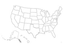 Mapa similar vazio dos EUA no fundo branco País do Estados Unidos da América Molde do vetor para o Web site Fotos de Stock