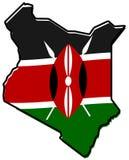 Mapa simplificado del esquema de Kenia, con la bandera levemente doblada bajo i stock de ilustración