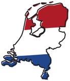 Mapa simplificado do esboço holandês, com a bandeira levemente curvada u ilustração do vetor