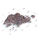 Mapa Singapur de la forma del grupo de la gente Libre Illustration