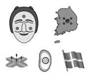 Mapa stan z flaga, Koreańska maska, krajowy jajeczny posiłek, rozdroża z światłami ruchu tła granic kraj wyszczególniać flaga iko ilustracji