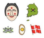 Mapa stan z flaga, Koreańska maska, krajowy jajeczny posiłek, rozdroża z światłami ruchu tła granic kraj wyszczególniać flaga iko ilustracja wektor