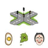 Mapa stan z flaga, Koreańska maska, krajowy jajeczny posiłek, rozdroża z światłami ruchu tła granic kraj wyszczególniać flaga iko royalty ilustracja