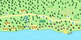 Mapa strefa odpoczynek na wybrzeża 3d renderingu Zdjęcie Royalty Free