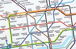Mapa subterráneo de Londres Fotografía de archivo libre de regalías