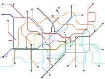 Mapa subterráneo de Londres Esquema del transporte público del subterráneo Plan británico del vector de la estación de tren ilustración del vector