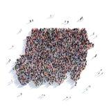 Mapa Sudán de la forma del grupo de la gente Stock de ilustración