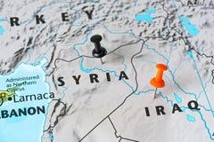 Mapa Syria i Irak, światowy gorącego punktu pojęcie Zdjęcie Royalty Free