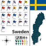 mapa Szwecji Zdjęcia Stock