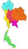 Mapa tailandés de 6 regiones Imágenes de archivo libres de regalías