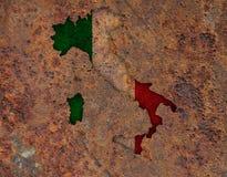 Mapa Textured de Itlay em cores agradáveis Imagens de Stock