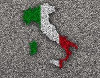 Mapa Textured de Itlay em cores agradáveis Fotos de Stock