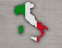 Mapa Textured de Itlay em cores agradáveis Fotografia de Stock