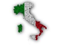 Mapa Textured de Itlay em cores agradáveis Foto de Stock Royalty Free