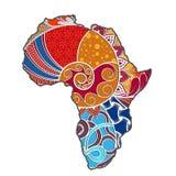 Mapa texturizado del vector de África Modelo a mano del ethno, fondo tribal Ilustración del vector BackgroundHand-d coloreado ext ilustración del vector