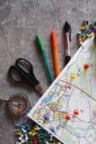 Mapa topográfico colorido para el deporte orienteering o rogaining Foto de archivo libre de regalías