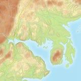 Mapa topográfico costero coloreado Imagen de archivo libre de regalías