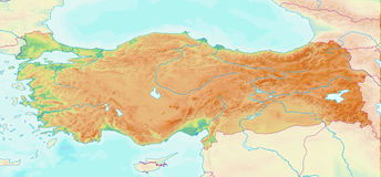 Mapa topográfico de Turquia Ilustração do Vetor