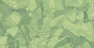 Mapa topográfico del vector abstracto en colores verdes Imagen de archivo libre de regalías