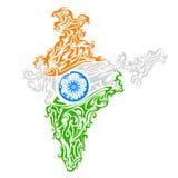 Mapa tricolor floral de la India del remolino Imagenes de archivo