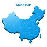 Mapa tridimensional altamente detalhado de China com beira das regiões Imagem de Stock Royalty Free