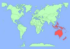 Mapa tridimensional de Austrália isolado. 3d Imagem de Stock Royalty Free