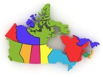 Mapa tridimensional de Canadá. 3d Foto de Stock Royalty Free
