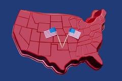 Mapa tridimensional de los E.E.U.U. continentales con las banderas americanas exhibidas en ellos - fondo o elemento patriótico Imagen de archivo libre de regalías