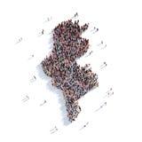 Mapa Tunísia da forma do grupo dos povos Fotografia de Stock