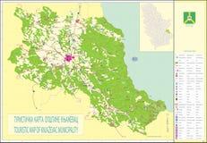 mapa turístico del municipio del knjazevac Imagen de archivo libre de regalías