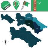 Mapa Turkmenistan z okręgami royalty ilustracja