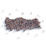 Mapa Turquia da forma do grupo dos povos Foto de Stock