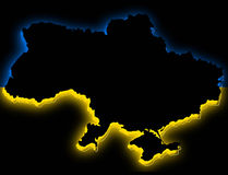 Mapa ucraniano en bandera Fotografía de archivo libre de regalías