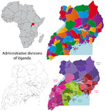 mapa Uganda Zdjęcie Stock