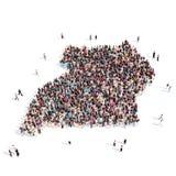 Mapa Uganda de la forma del grupo de la gente Stock de ilustración