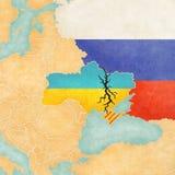 Mapa Ukraina z pęknięciem ilustracja wektor