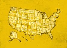 Mapa usa rocznika kolor żółty royalty ilustracja