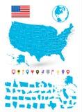 Mapa usa z nim jest stanami i płaskimi map pointerami Obraz Stock