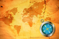 Mapa velho com compasso Fotografia de Stock Royalty Free