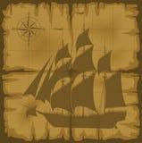 Mapa velho com imagem do grande navio Fotografia de Stock