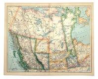 Mapa velho de Canadá ocidental. Fotos de Stock Royalty Free