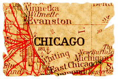 Mapa velho de Chicago Fotografia de Stock Royalty Free