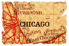 Mapa velho de Chicago fotografia de stock royalty free