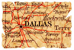 Mapa velho de Dallas Foto de Stock Royalty Free
