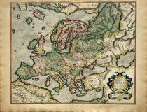 Mapa velho de Europa, impresso em 1587 Fotos de Stock Royalty Free