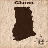 Mapa velho de Gana com grunge e papel amarrotado Ilustração do vetor Imagens de Stock Royalty Free